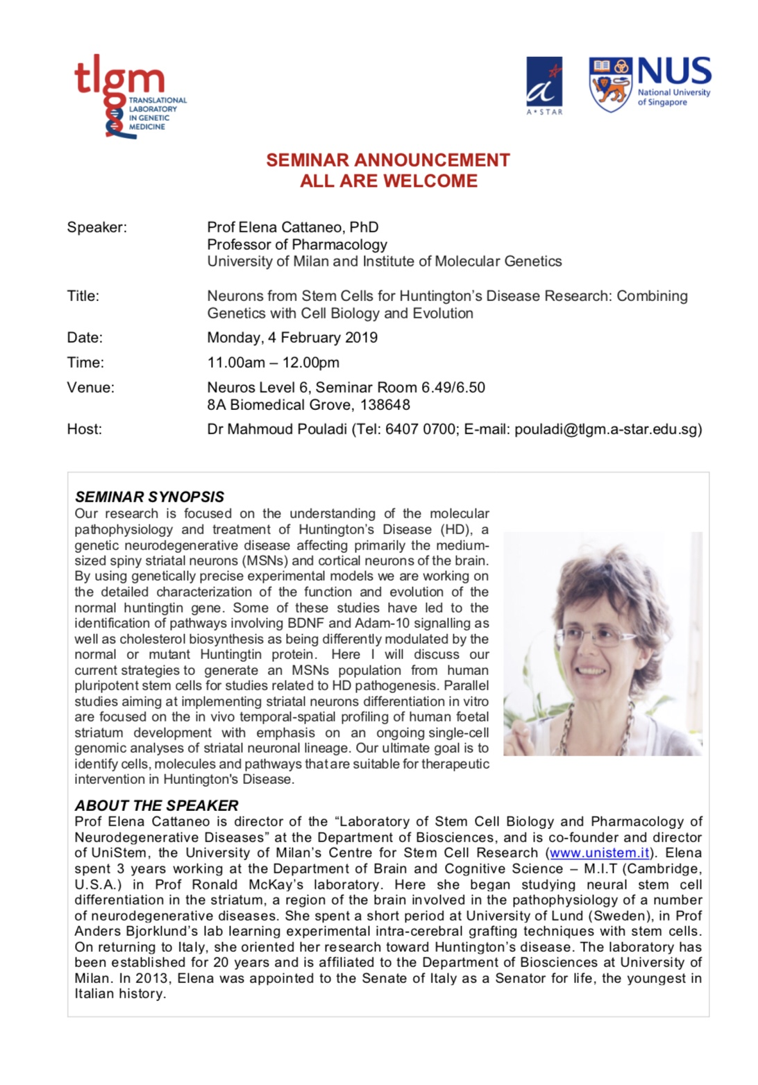 Prof Cattaneo's seminar on Huntington disease