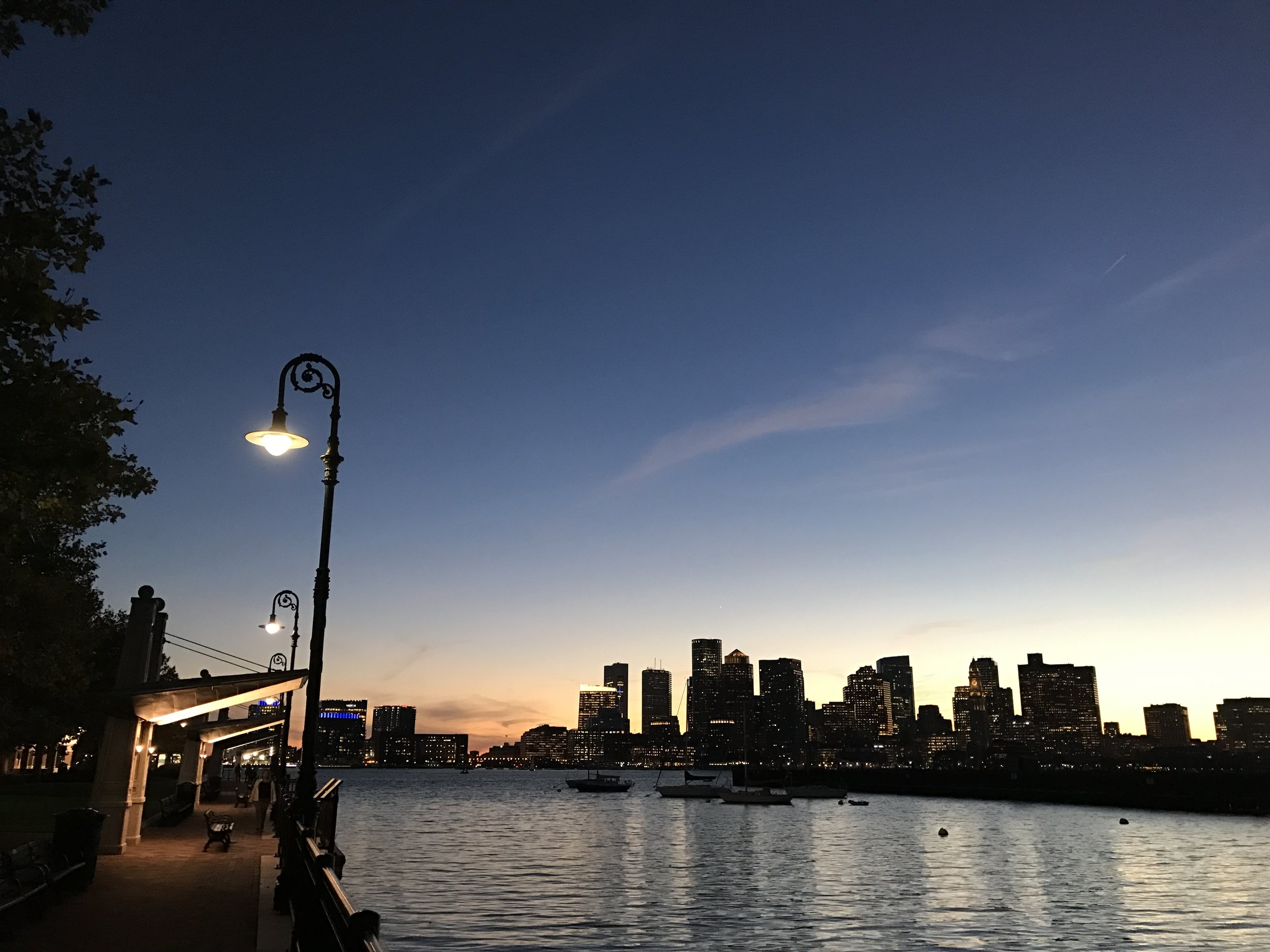 skyline sunset from east boston