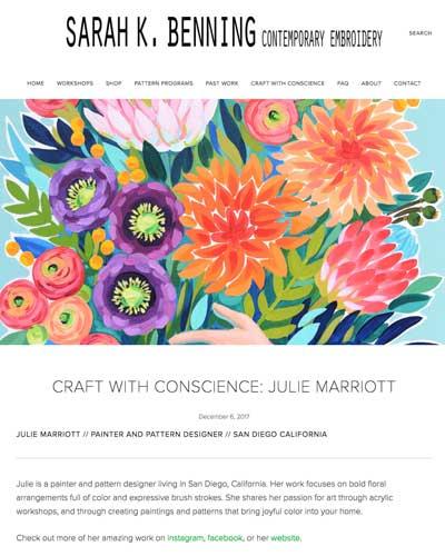 Sara K. Benning   Craft With Conscience  interview