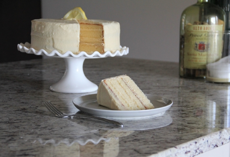 The taste-tester slice of the lemon cake... just enough of the honey buttercream frosting for my liking!