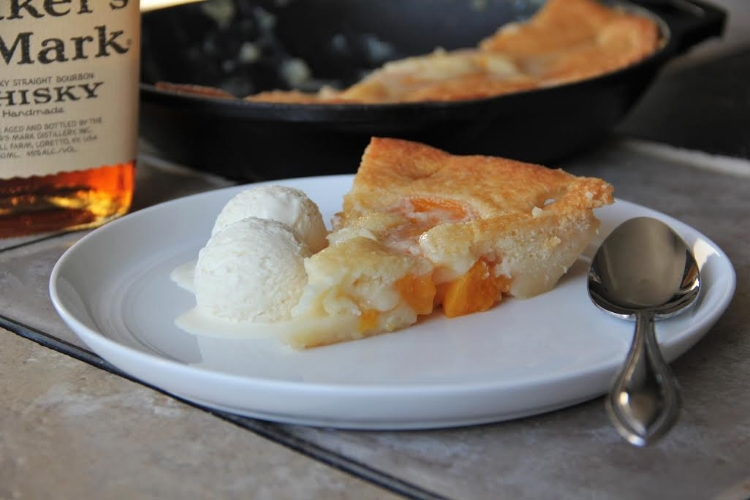 Peach cobbler with a side of bourbon ice cream (no churn!)