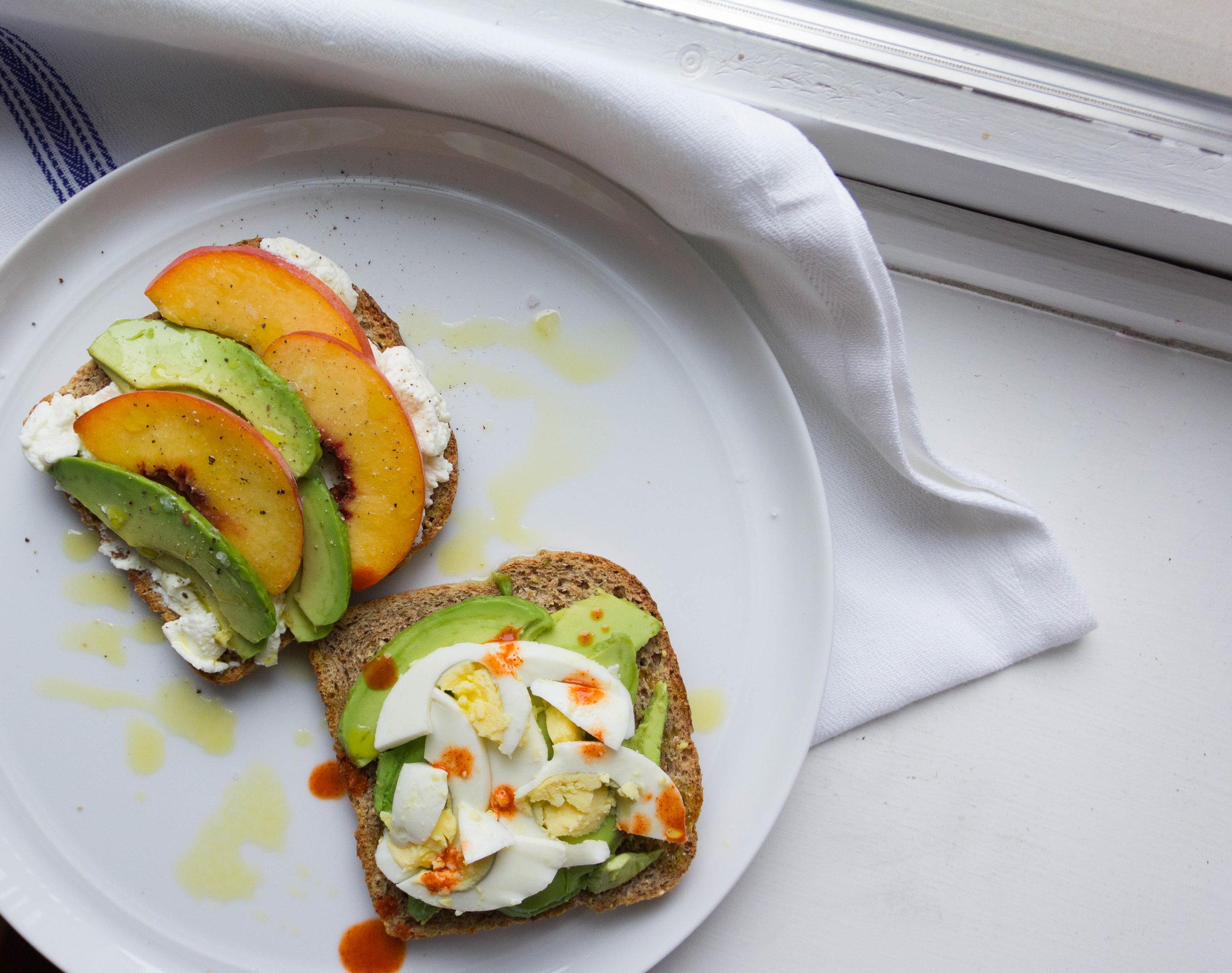 Avocado toast two ways: Peach & Ricotta Avocado Toast + Avocado & Egg Toast