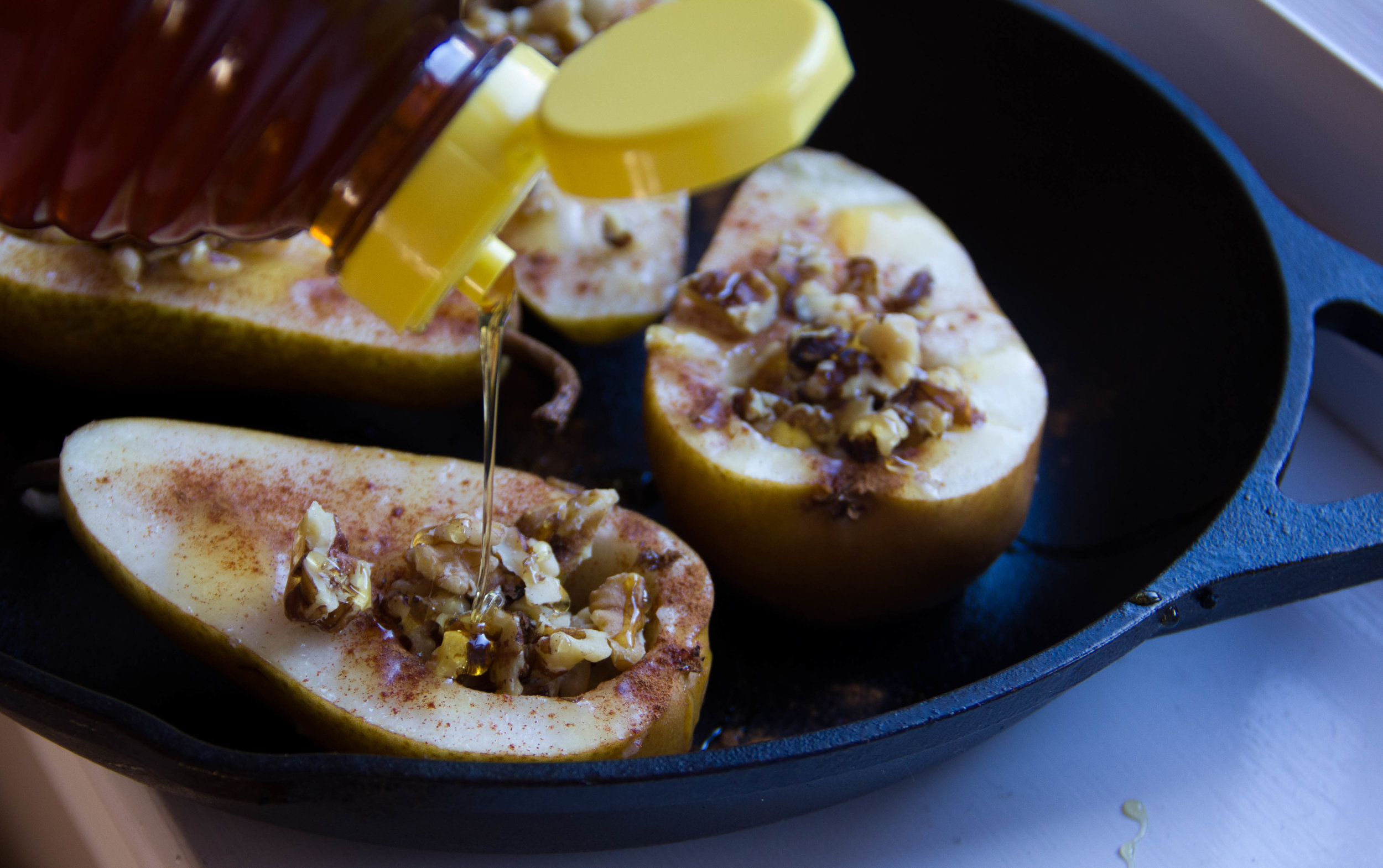 Drizzle the pears and walnuts with a couple of tablespoons of honey before you put them into the oven.