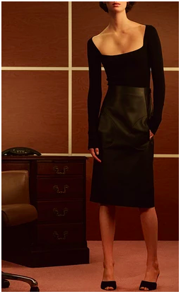 Alexia Square Neck Body Suit, $780. Patricia Leather Pencil Skirt, $1,500.