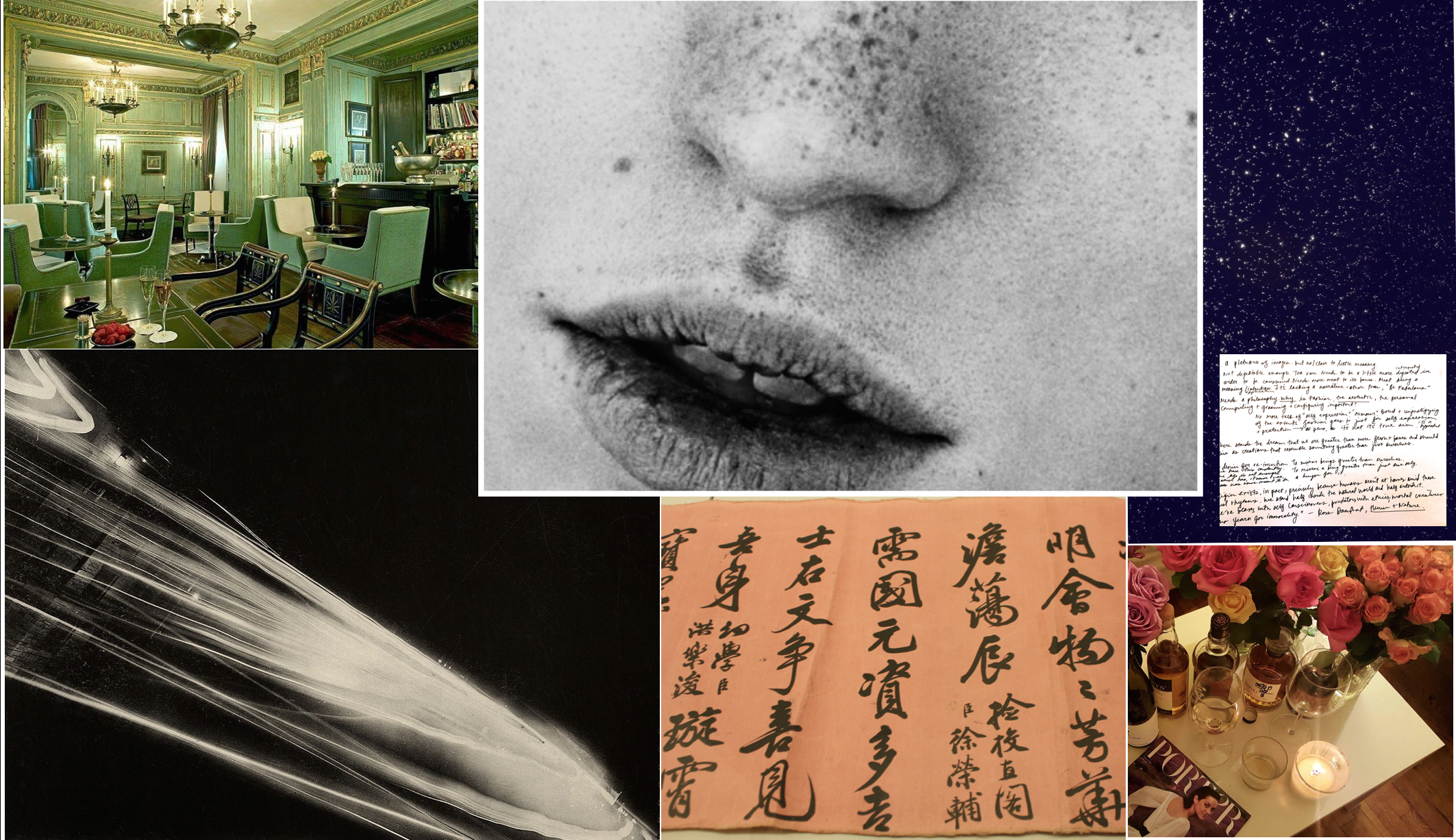 From left - clockwise: my favorite dream bar in Paris at Le Dokhan; a fragment of a photo shot by Billy Kidd; excerpt of diary notes and a glipmse of stars; a snapshot of birthday drinks; photo of a visit to Seoul's Museum of History; photo by one of my favorites, photographer Kiyoshi Koishi