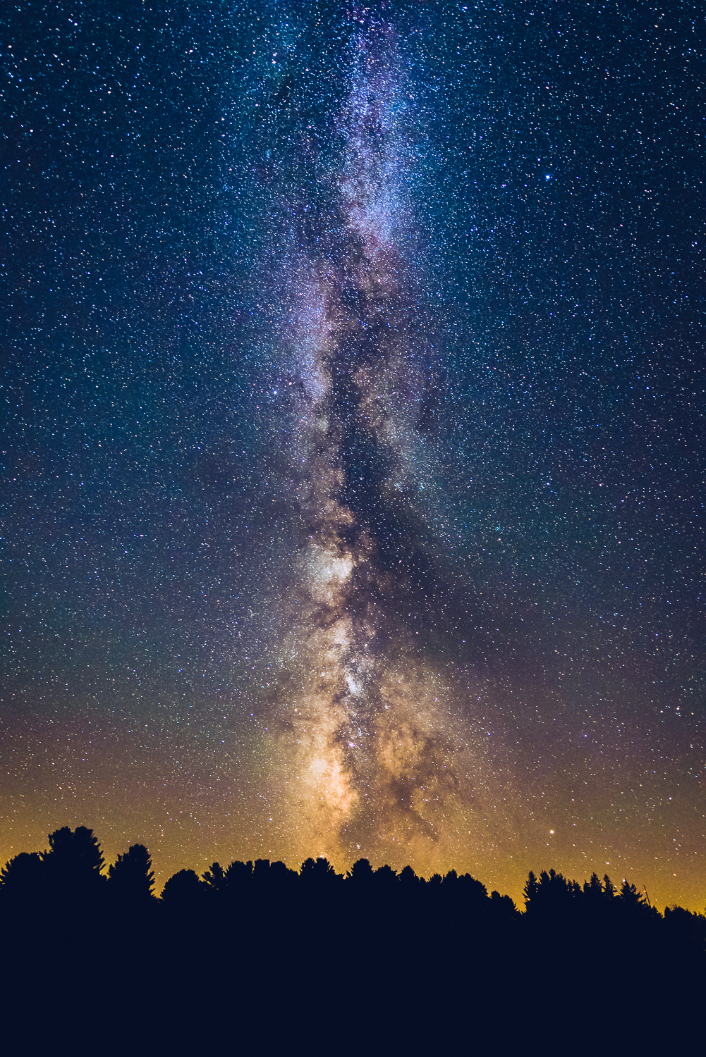 Milky Way rising vertically from the southwest horizon