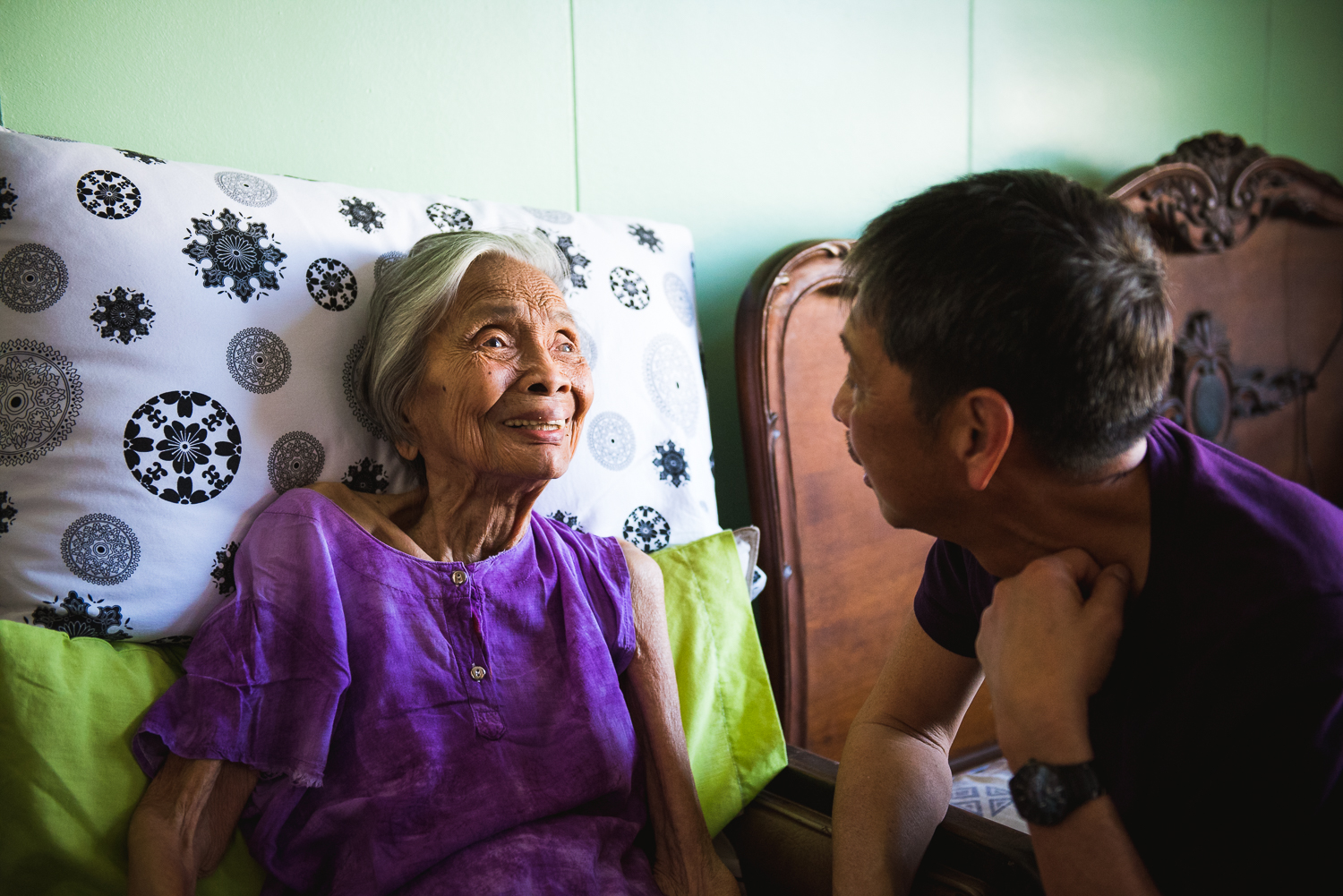 Staying close to the topic of my Lola, one of my favorite pictures from the trip was this moment between her and her son, my dad. This shot was taken during the brief visit we had when stopping by Guagua after the Tanjuakio family reunion at Subic Bay.