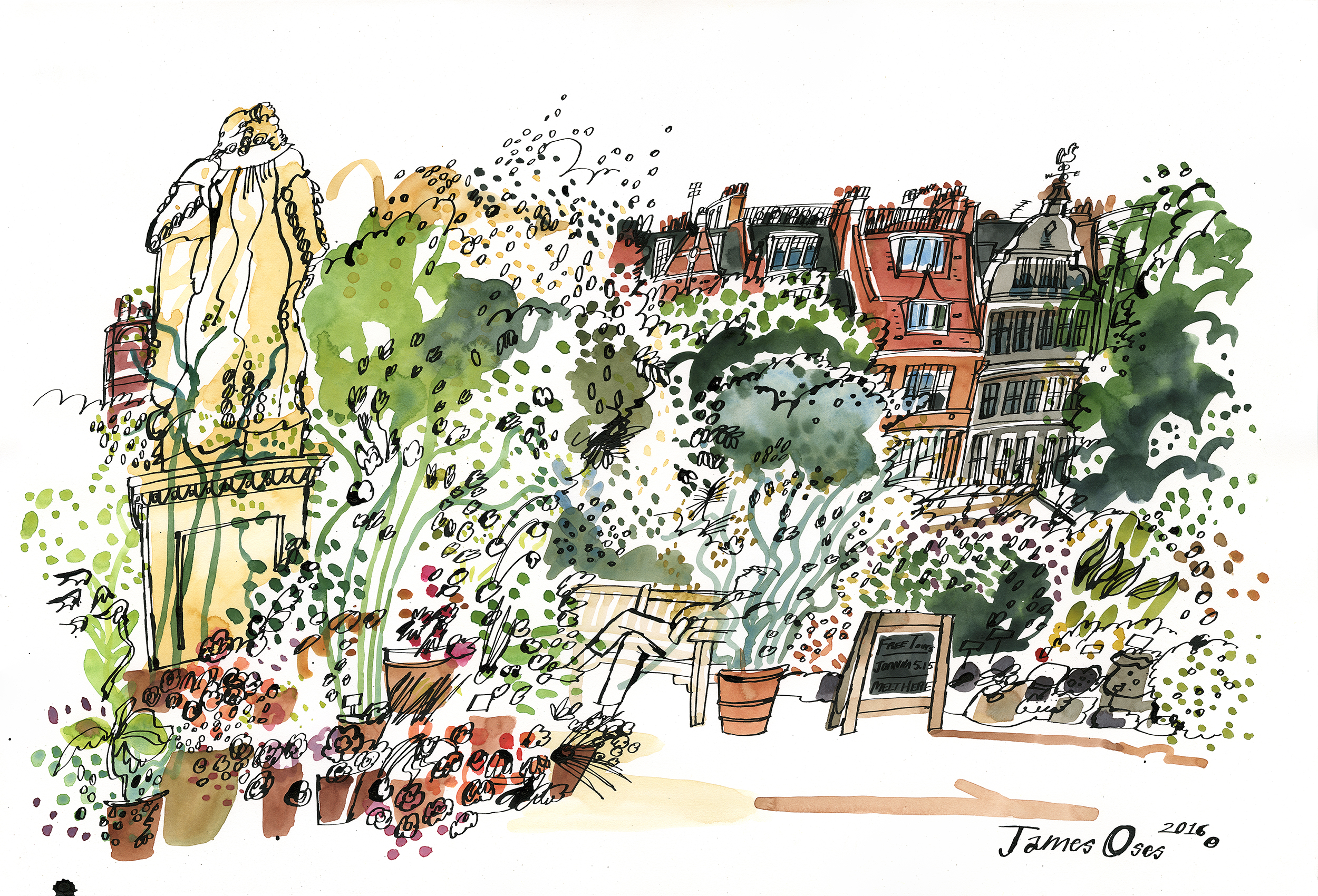 Chelsea Physic Garden - Sloane statue.  A picture I painted on location last year. One of the volunteers at the Garden very kindly bought the original artwork after seeing me drawing by the Sloane statue. A print is available  here .