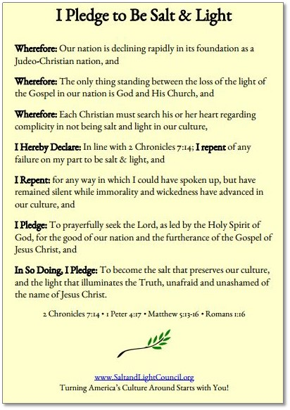 Salt & Light Pledge