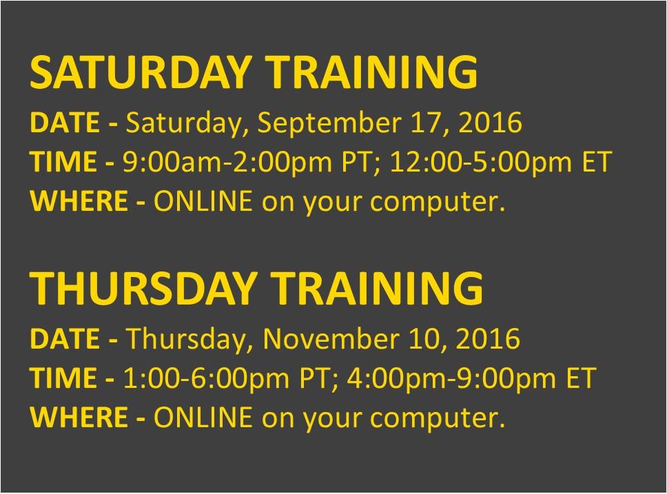 Training Times SLC