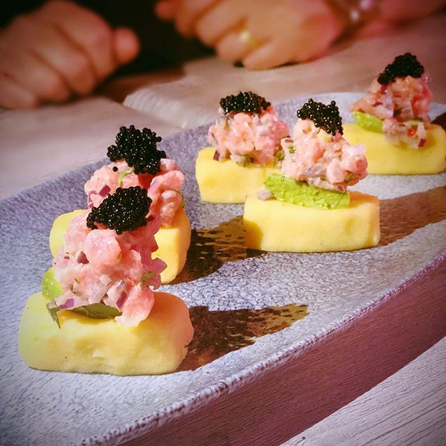 Mini causas with tuna tartare and caviar.  You will love it 🥰 #chefspecial #causaperuana