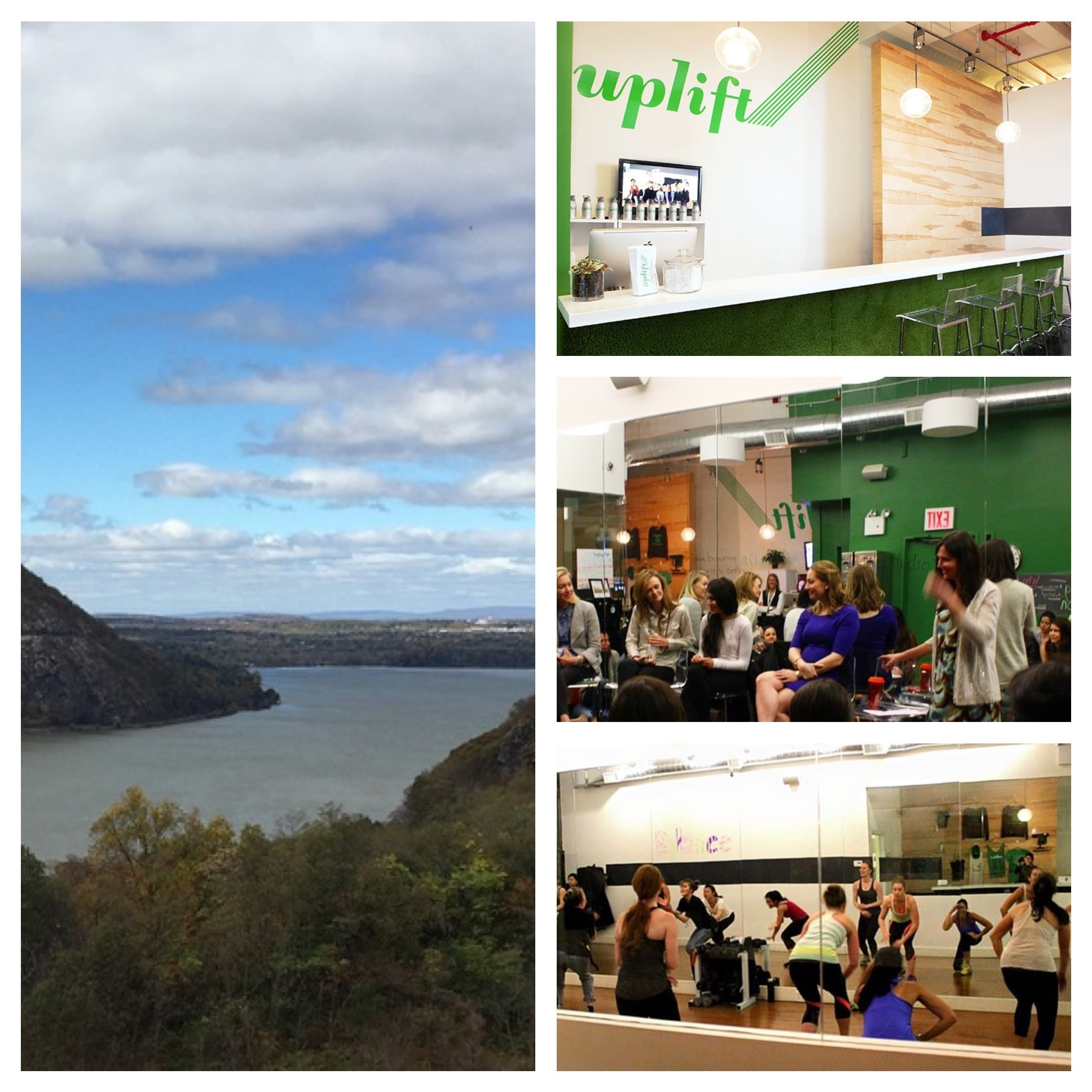 Left: View from our hike. Right: Photos from Uplift's website and Facebook page (top to bottom: bar/check in area, photo from the panel I attended in the personal training area, shot of a class in the group fitness studio).