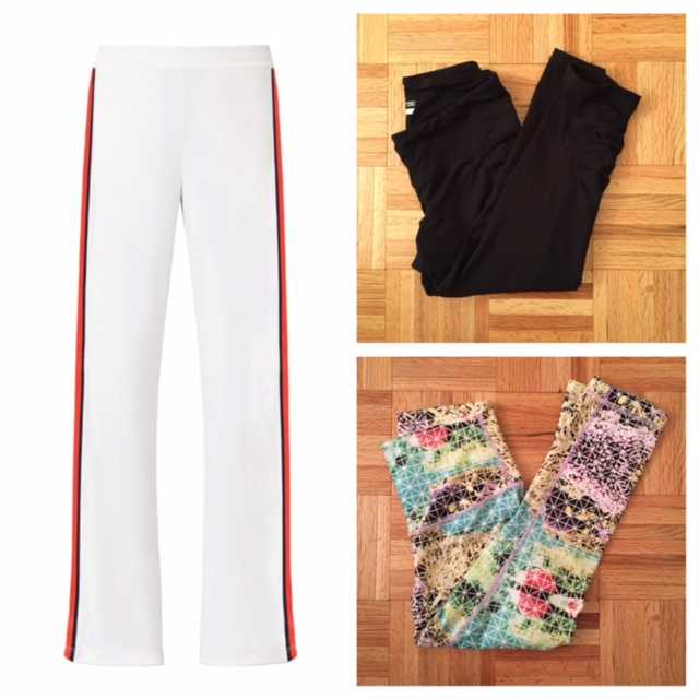 Left: The infamous Tory Sport pants. Top right: I got these from Old Navy and I love them! They even have a cute ruching from the knee down,not sure how clear that is in the photo. Bottom right: Sometimes you need your Lulu and your colors.
