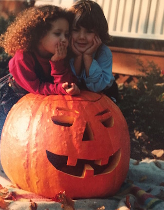 What's bigger, the pumpkin or my hair? Seriously though, the nostalgia is real.