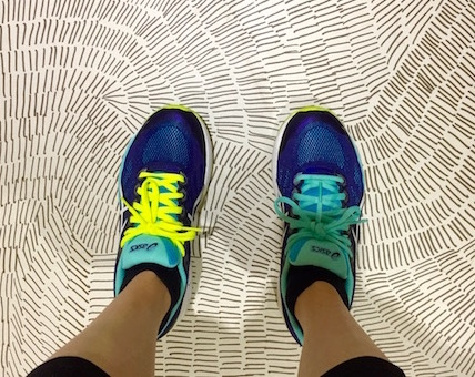 I really like the locker room floor and yes, my shoelaces are two diff colors- my other turquoise one snapped in half.