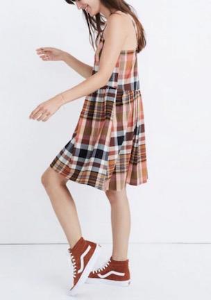 Madewell plaid baby doll dress