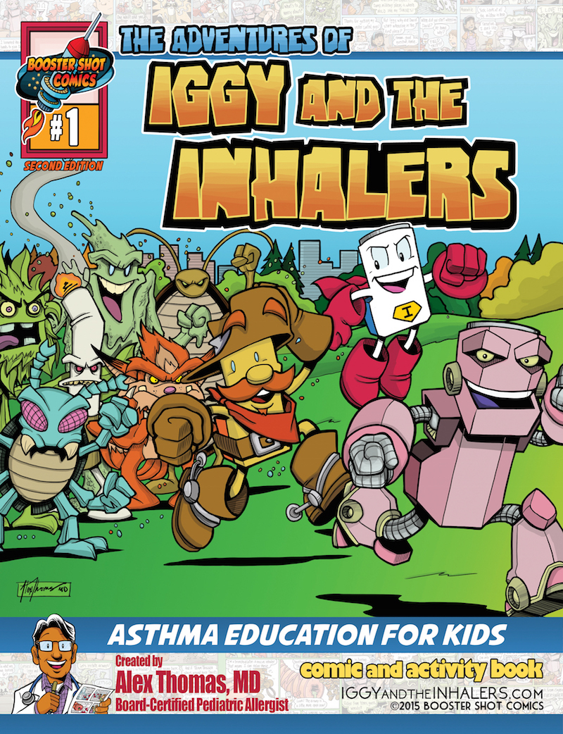 """""""Iggy and the inhalers"""" Comic book cover"""