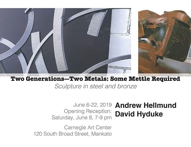 Hope you can join us for this opening on June 8! Dave and I are looking forward to this show.  #mnartist #artscenter #sculpture #mnart #gustavusadolphus #bronze #steel #abstractart #abstractsculpture #gardenart #metal