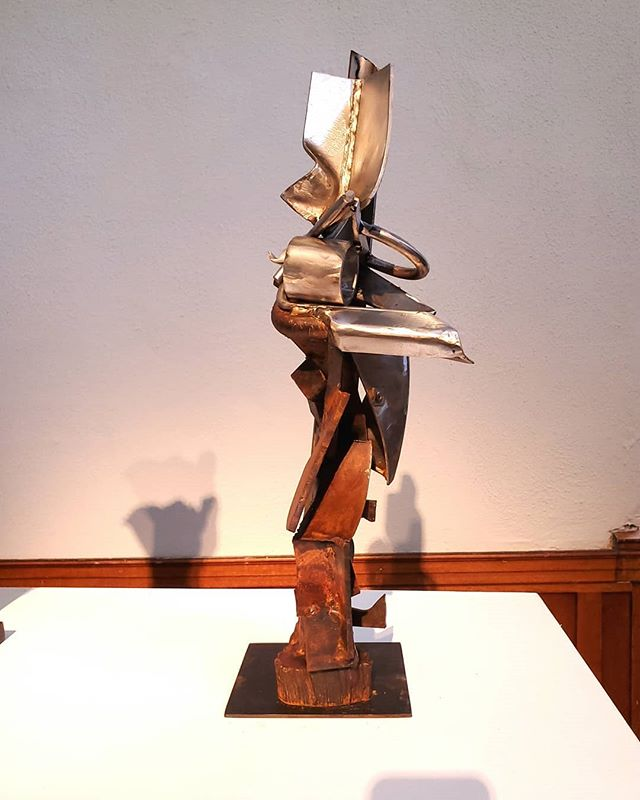 Acension, 2019  21.5 x 9 x 7.5  Recycled stainless and steel  #mixedmetal #recycledsteel #abstractsculpture #recycledart #mnartist #annoyinggnats #mnvikings #vikingart