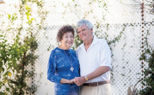 Gabriella Karin and Robert Geminder on Feb. 6 at the Larry and Cheryl Katchen residence in Los Angeles. Photo by Carla Acevedo-Blumenkrantz. (From Jewish Journal)