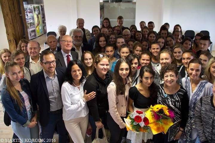 Gabriella with future teachers in Sered, Slovakia.