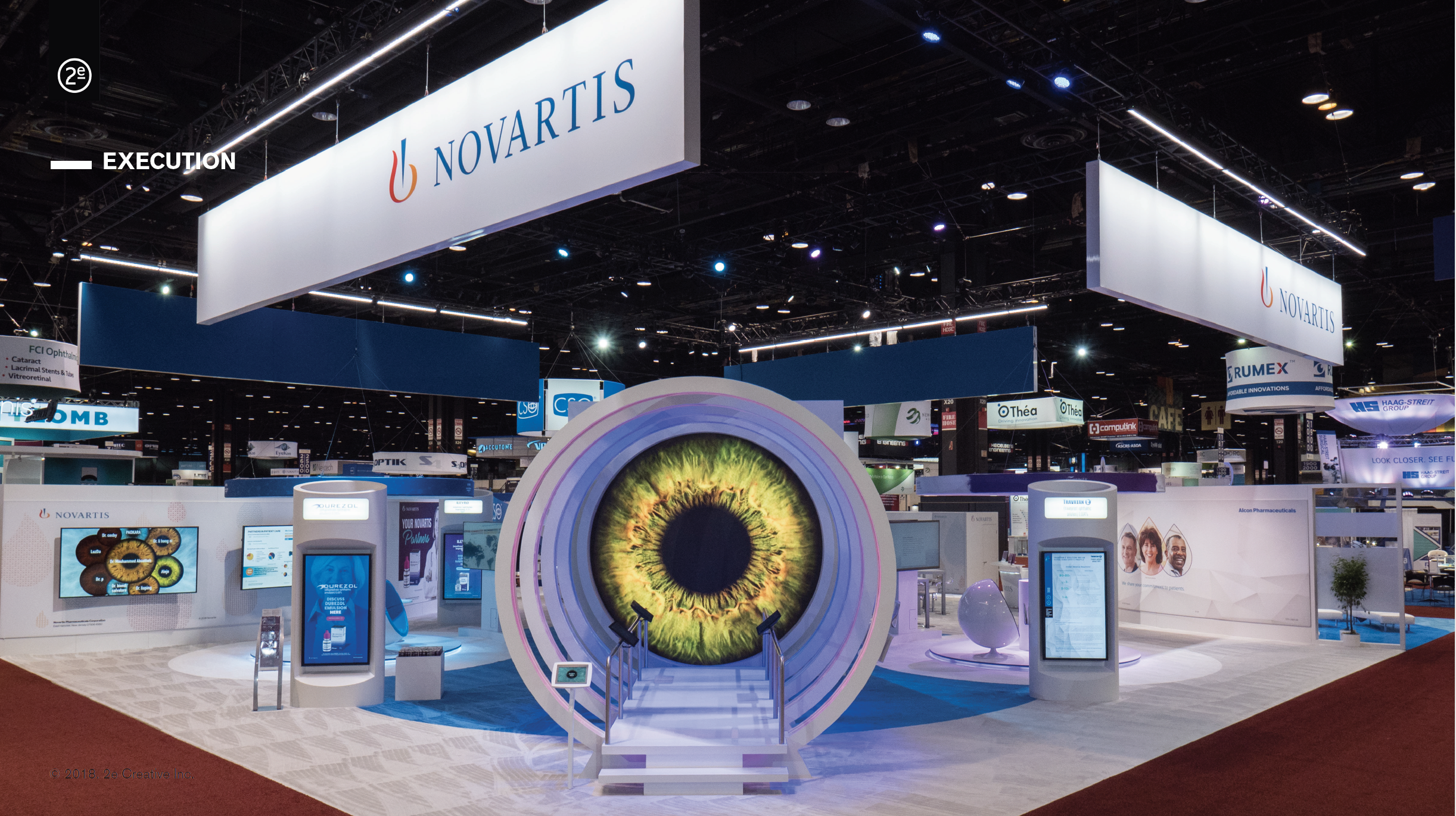 Regulations restrict the monetary value of giveaways, so we provided eye care professionals with irresistible interactivity. After keying in their name and selecting an eye color, attendees looked forward to posing for a photo with their customized eye in the multi-colored portal.