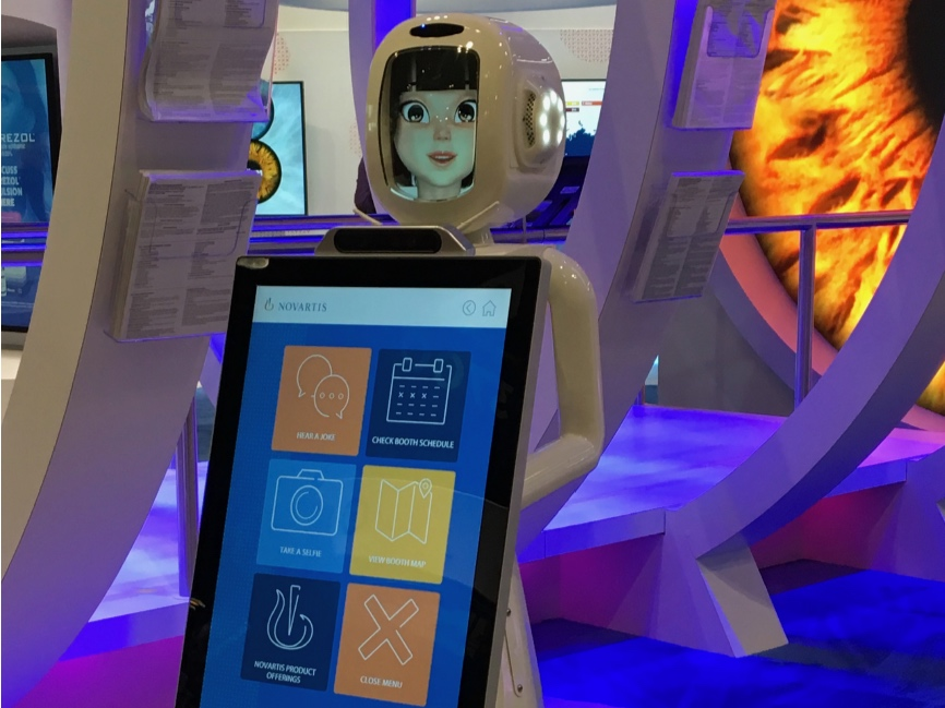 With 7,741 exhibitors competing for the attention of the same 14,708 ECPs, we decided to add an unusual hostess to our staff: Ophthal Molly, AAOph's first-ever robotic greeter. Via touchscreen, attendees could take a selfie and send it to themselves, navigate the booth, and learn more about Novartis products.