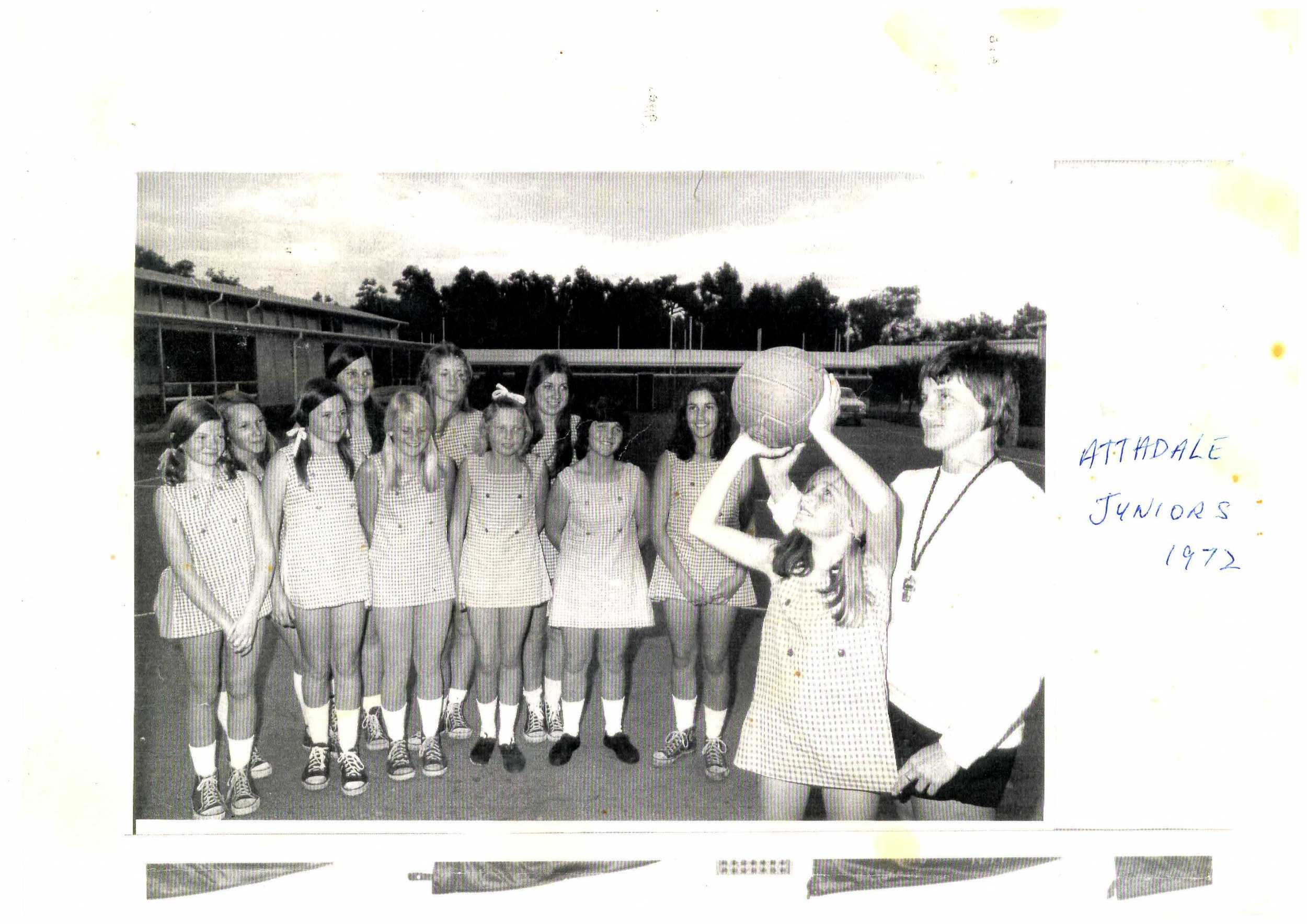 Attadale Netball Club Juniors in 1972, with Marilyn Williams