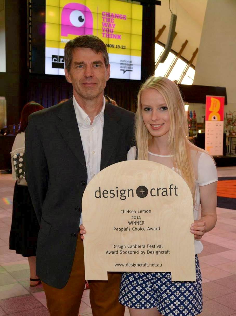 Bob Fenderson and Chelsea Lemon Designcraft peoples choice award furniture design Canberra Australia