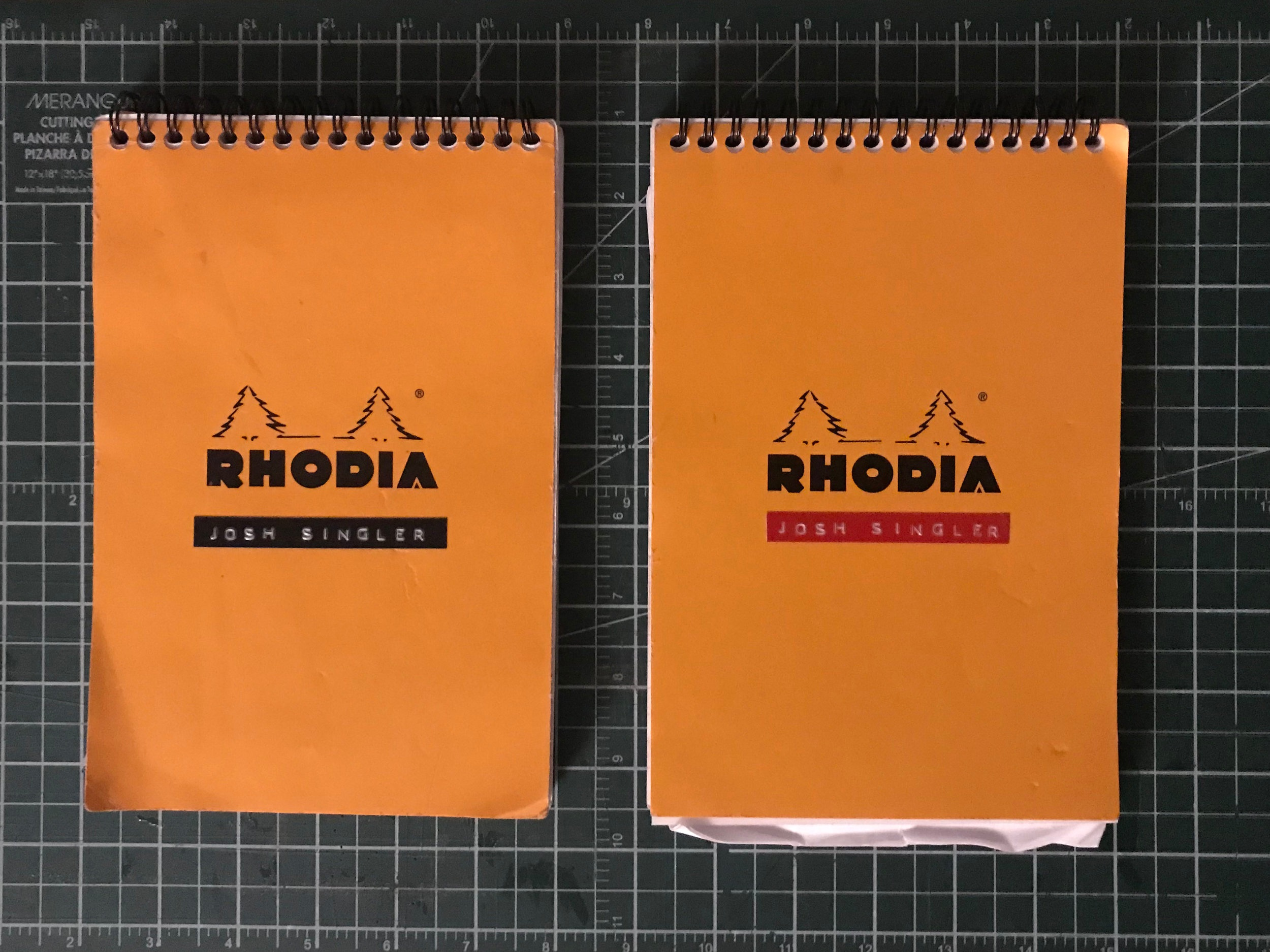 NOTEBOOK A SEMESTER  Starting from the first semester I've filled up one a Rhodia notebook. My aim is to fill up one for each semester of study. Inside these notebooks is mainly notes from classes, readings, and lectures.