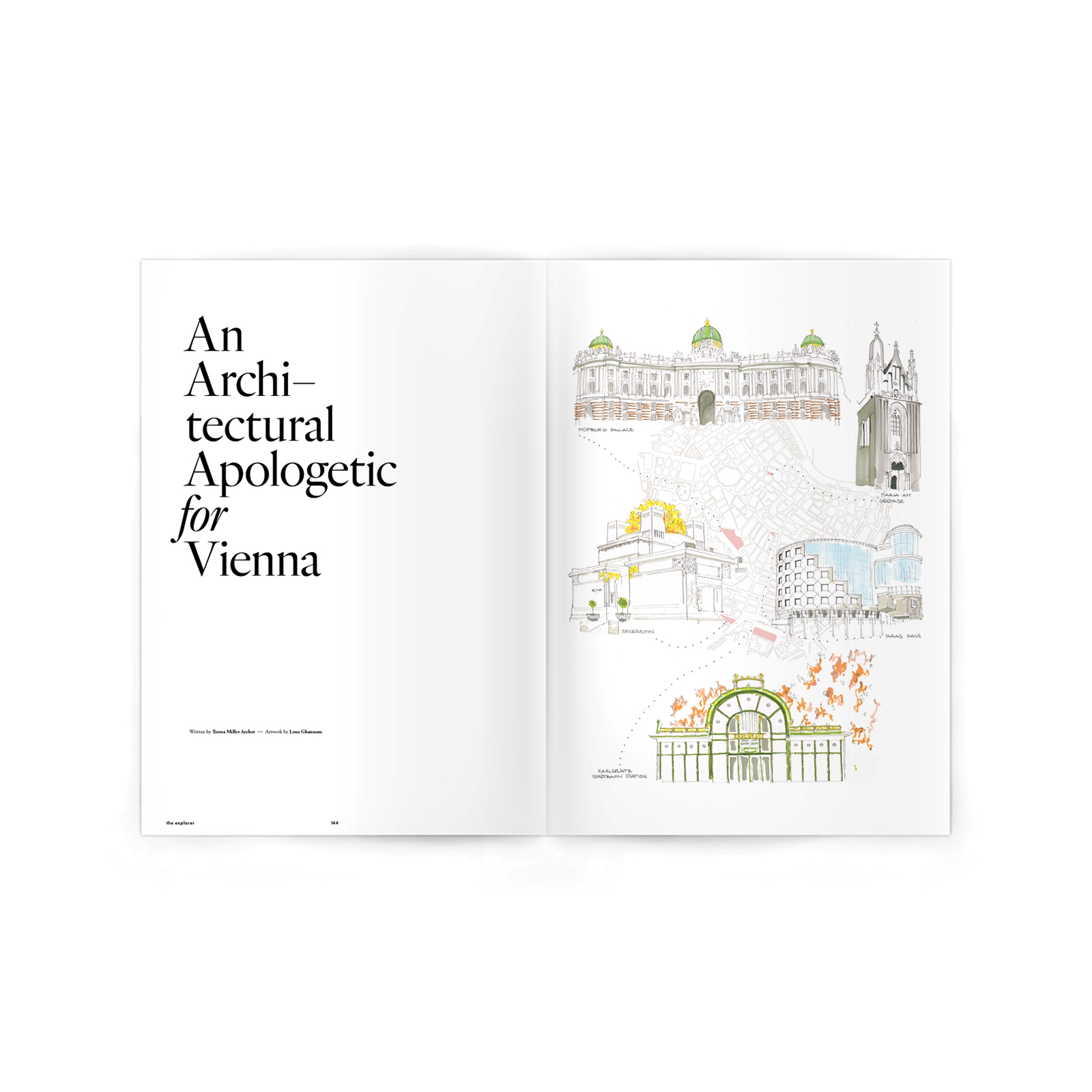 Editorial Feature. Art Direction.  Illustration by  Lena Ghannam . Key architectural features on a walk around Vienna's Ringstrasse.