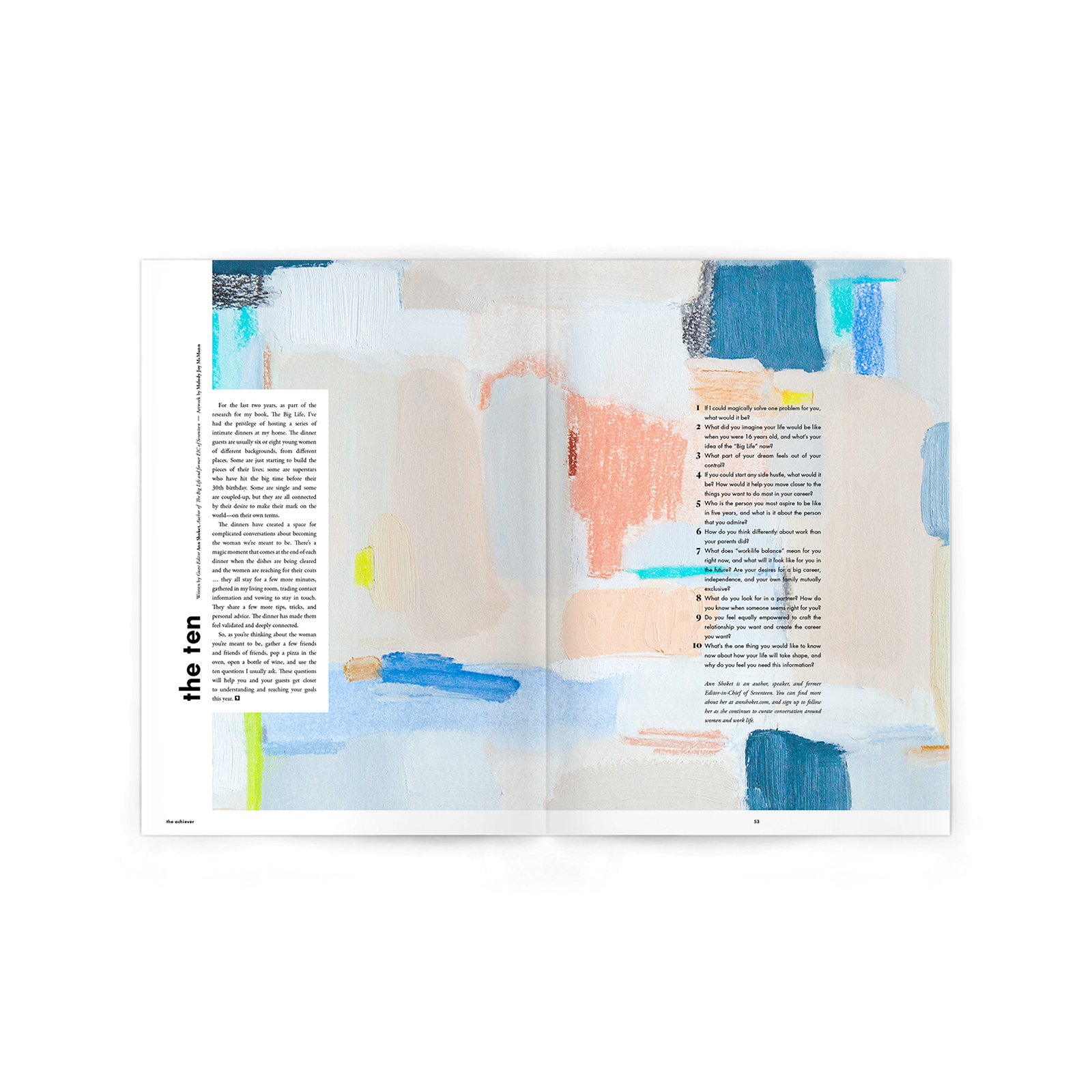 """Editorial Feature. Art Direction.  Painting by  Melody McMunn . Airy, inviting textures to invite the reader into Darling's interactive questions column, """"The Ten."""""""