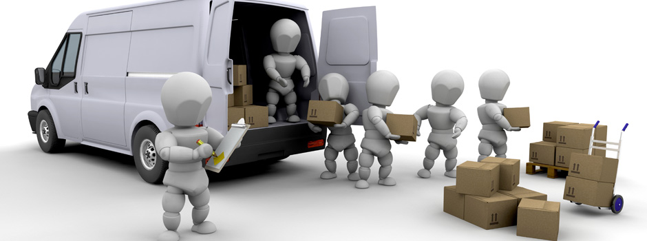 Cartoon picture of the open back of a moving van with six stick figure type people unloading cardboard boxes