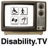 Disability.TV logo, old style tv set with four disability symbols on the screen