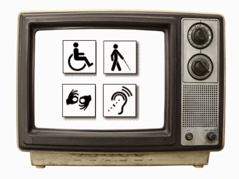 Picture of an old-style TV set with four disability symbols on the screen