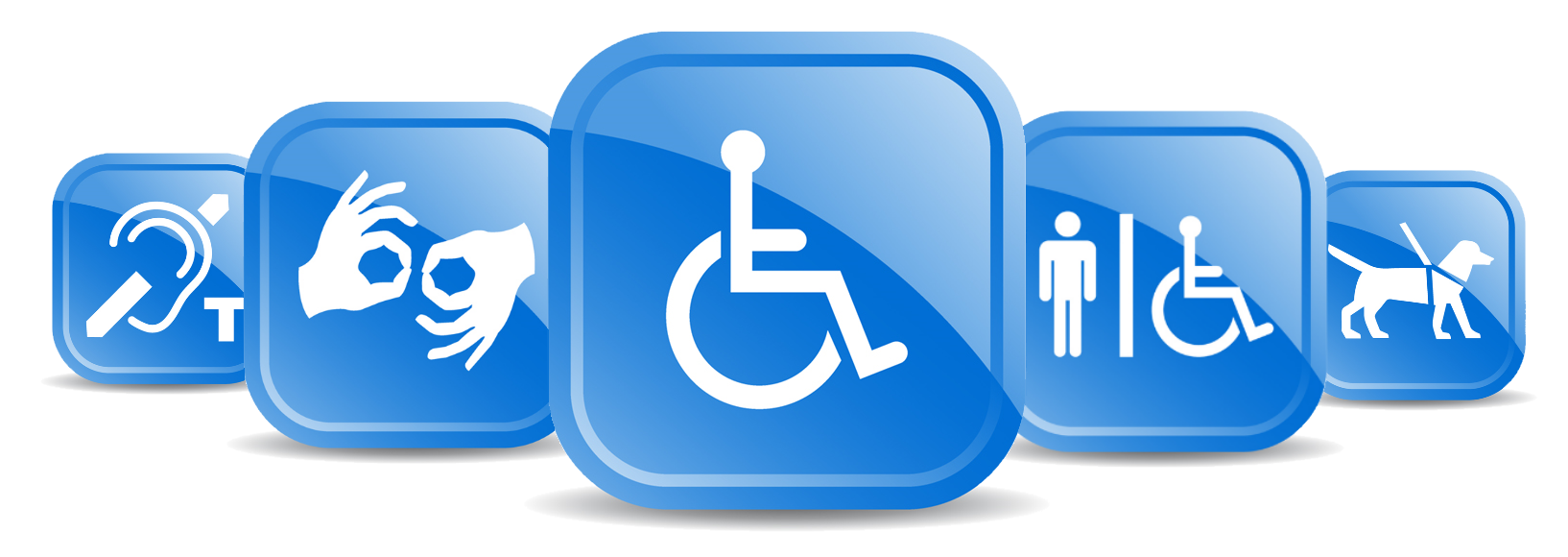 5 blue colored symbols of accessibility in a row: hearing impairment, sign language, wheelchair, wheelchair bathroom, guide dog