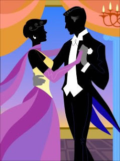 Cartoon picture of dancing man and woman dressed for formal party