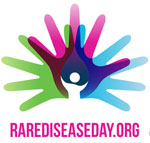 Logo of RAREDISEASEDAY.ORG, with three colored hands radiating out with a white stick figure at their base