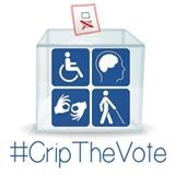 #CripTheVote with logo of a ballot box with 4 blue and white disability symbols on the front