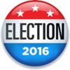 Picture of a red white and blue button reading ELECTION 2016