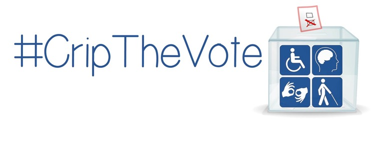 #CripTheVote in big blue letters, with logo of a ballot box with four disability symbols in blue on the front