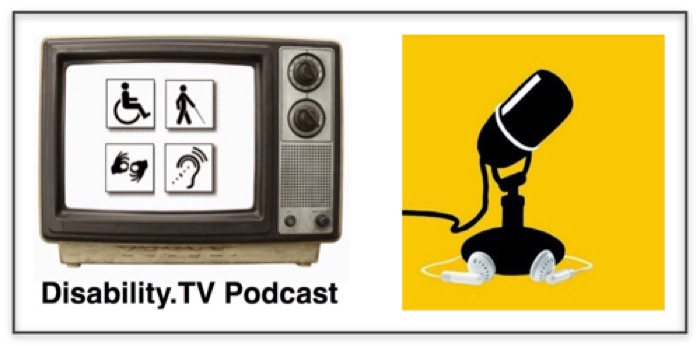 Disability.TV Podcast on the left an old style television with four disability symbols on a white screen, on the right, a black silouette icon of a microphone against a yellow background