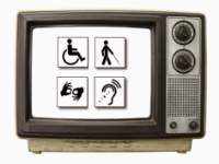 Picture of an old-style television set with four disability symbols on a white screen