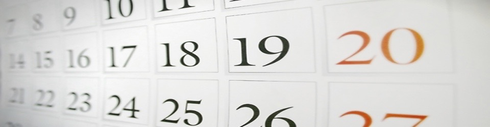 Closeup picture of a monthly calendar page