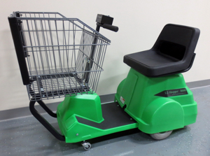 Photo of a green supermarket mobility cart