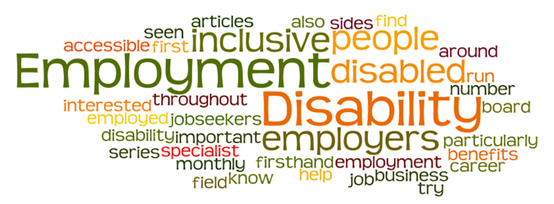 "Multicolored word cloud around words ""Employment"" and ""Disability"""