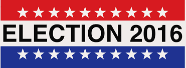Election 2016 banner in red white and blue with white stars