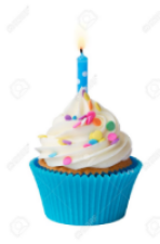 Photo of a cupcake with white icing, colored sprinkles, in a blue paper cup, with a single lit candle stuck in the top