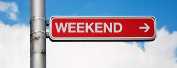 "Photo of a red street sign with white block letters reading ""WEEKEND"""