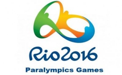 Rio 2016 Paralympics Games, with multicolored logo comprised of an abstract rearrangement of traditional Olympic rings